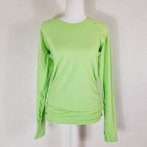Athleta lime green long sleeve pullover top S